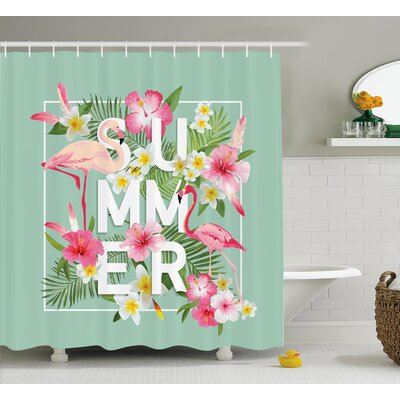 Ara Tropical Retro Flowers Shower Curtain Size: 69 W x 84 L