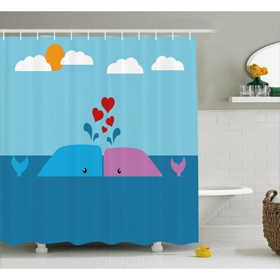 Kael Lover Whales in Ocean Shower Curtain Size: 69 W x 84 L