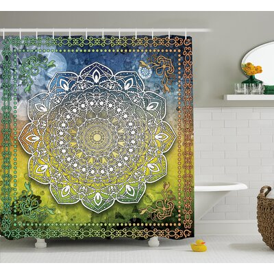 Bellegarde Asian Mandala Zen Boho Print Shower Curtain Size: 69 W x 75 L