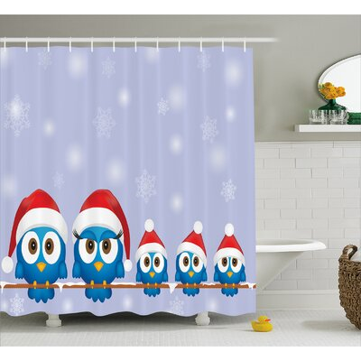 Christmas Fun Birds Santa Hats Shower Curtain Size: 69 W x 70 L