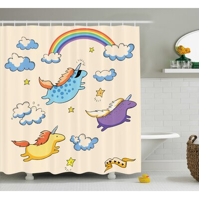 Galgorm Parks Unicorn Pastel Flying Pony Art Shower Curtain Size: 69 W x 84 L