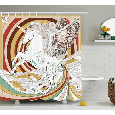 Unicorn Ancient Unicorn Decor Shower Curtain Size: 69 W x 75 L