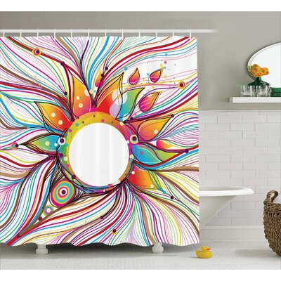 Sylvester Wavy Flowers Blossoms Shower Curtain Size: 69 W x 84 L