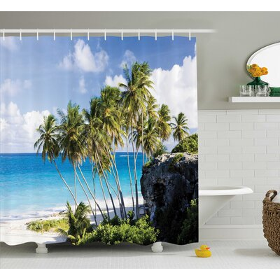 Tropical Ocean Exotic Beach Shower Curtain Size: 69 W x 84 L