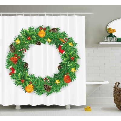 Christmas Evergreen Wreath Art Shower Curtain Size: 69 W x 70 L