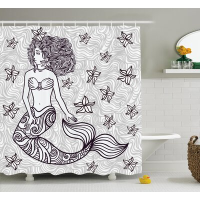 Ocean Magical Mermaid with Wave Shower Curtain Size: 69 W x 84 L