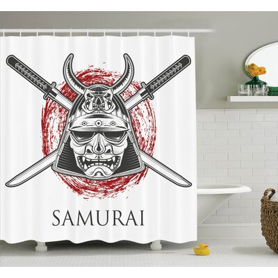 Japanese Samurai Warrior Mask Shower Curtain Size: 69 W x 84 L