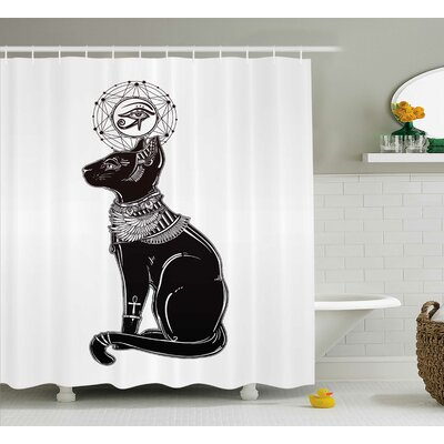 Everly Egyptian Animal Spiritual Shower Curtain Size: 69 W x 84 L