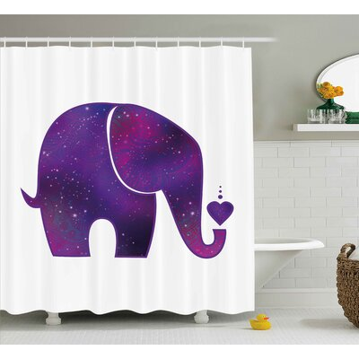 Herta Elephant Indian Hearts Shower Curtain Size: 69