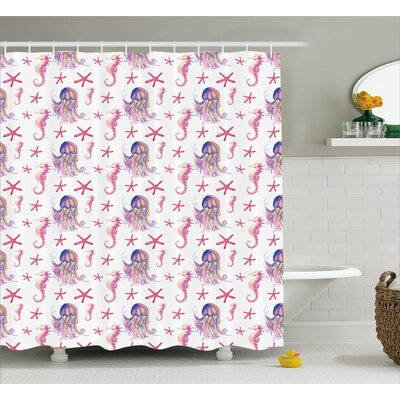 Pamelia Starfish Seahorse Shower Curtain Size: 69 W x 70 L