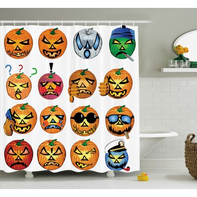 Halloween Decor Pumpkin Emoji Shower Curtain Size: 69 W x 75 L