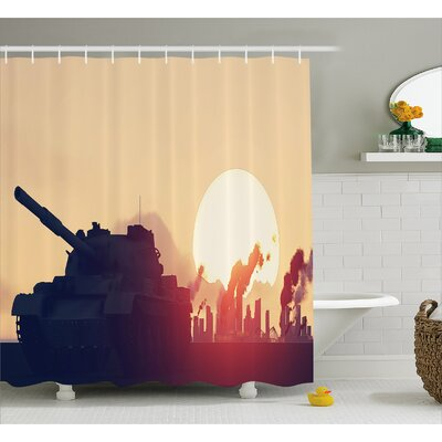 Bilski Tank Destroy Skyscrapers Shower Curtain Size: 69 W x 84 L