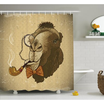 Animal Hipster Pop Art Vintage Shower Curtain Size: 69 W x 75 L