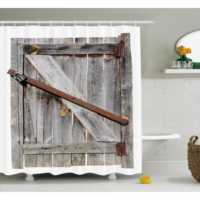 Rustic Aged Wooden Barn Door Shower Curtain Size: 69 W x 75 L