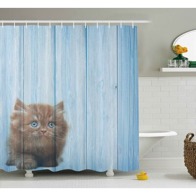 Animal Vivid Rustic Cute Kitty Shower Curtain Size: 69 W x 84 L