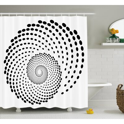 White Spiral Monochrome Black Shower Curtain Size: 69 W x 70 L