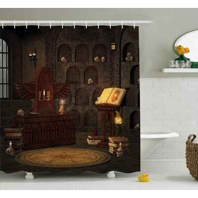 Gothic Magicians with Skulls Shower Curtain Size: 69 W x 75 L