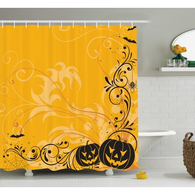 Orange Pumpkins Bats Halloween Shower Curtain Size: 69 W x 70 L