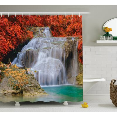 Scenery Autumn Leaves on Lake Shower Curtain Size: 69 W x 84 L