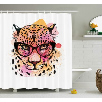 Leeann Trendy Hipster Leopard Shower Curtain Size: 69 W x 75 L
