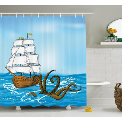 Ocean Ship in Waves and Kraken Shower Curtain Size: 69 W x 75 L