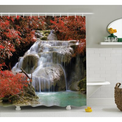 Landscape Fall Trees with Rock Shower Curtain Size: 69