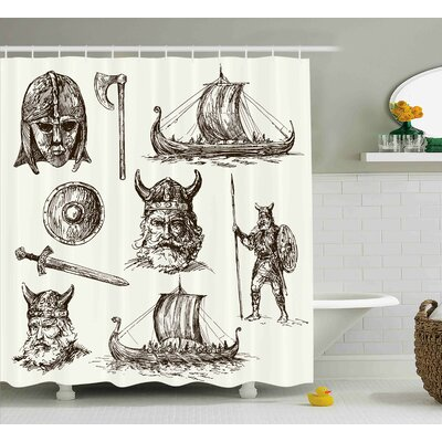 Viking Ancient War Characters Shower Curtain Size: 69 W x 70 L
