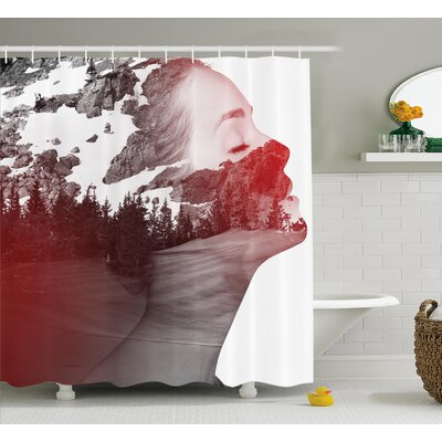 Ian Woman Mountain Portrait Print Shower Curtain Size: 69 W x 70 L