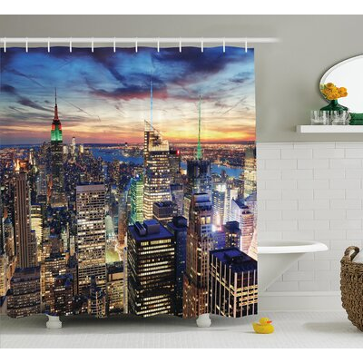 Landscape Urban Skyline of NYC Shower Curtain Size: 69