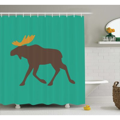 Auburn Deer Family and Antlers Shower Curtain Size: 69 W x 75 L