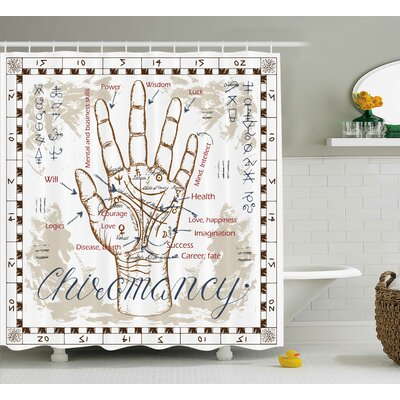 Beige Vintage Chiromancy Chart Shower Curtain Size: 69 W x 75 L