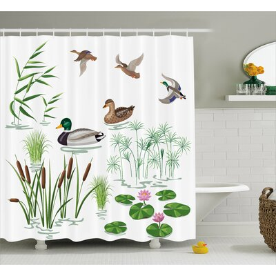 Oak Lake Animals Plants Lily Shower Curtain Size: 69 W x 75 L
