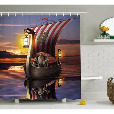 Viking Barbarian Warrior Print Shower Curtain Size: 69 W x 84 L
