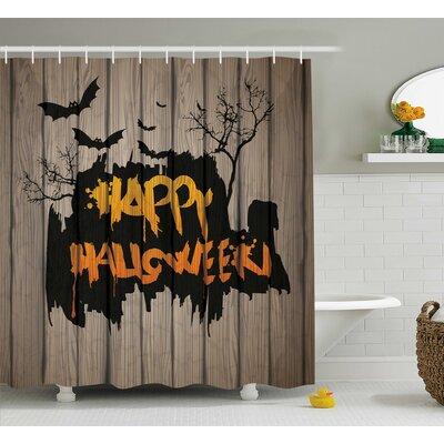 Halloween Decor Quote Bats Art Shower Curtain Size: 69 W x 84 L