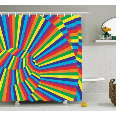Alessandra Rainbow Colored Circles Shower Curtain Size: 69 W x 84 L