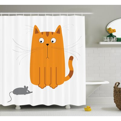 Mariana Kitty Fun Humor Kids Shower Curtain Size: 69 W x 70 L