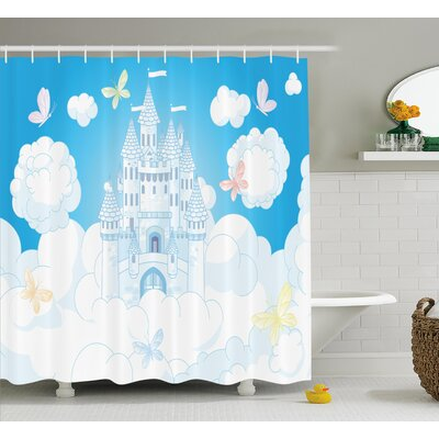 Ulysses Magical Castle Butterfly Shower Curtain Size: 69 W x 84 L