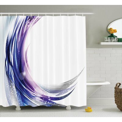 Hyannis Wave like Ombre Dots Print Shower Curtain Size: 69 W x 75 L