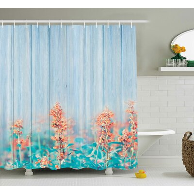 Burkley Oak Garden Flowers Buds Shower Curtain Size: 69 W x 70 L