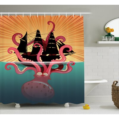 Ocean Coral Sea Monster Folk Shower Curtain Size: 69 W x 84 L