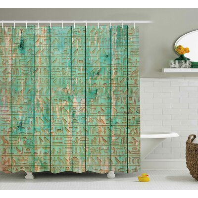 Avanley Ancient Wooden Board Print Shower Curtain Size: 69 W x 75 L