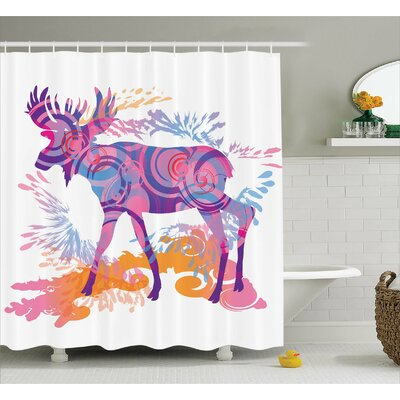 Emmett Trippy Vivid Deer Shower Curtain Size: 69 W x 84 L
