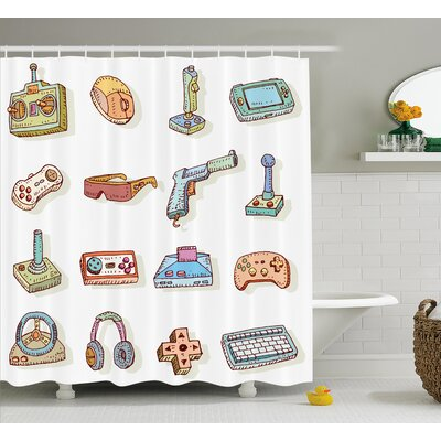 Beeler Games Retro 90s Artsy Shower Curtain Size: 69 W x 84 L