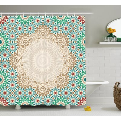 Damiane Antique Floral Mosaic Form Shower Curtain Size: 69 W x 84 L