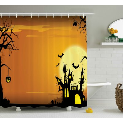 Halloween Decor Haunted House in Yellow Shower Curtain Size: 69
