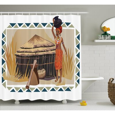Avia Native Ethnic Lady Print Shower Curtain Size: 69 W x 84 L