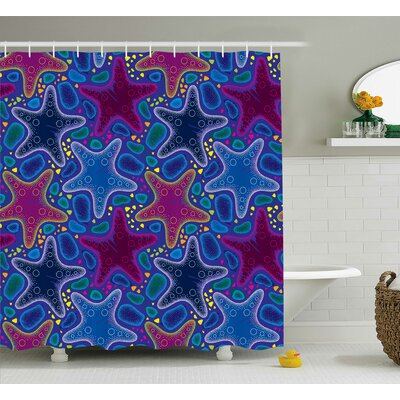 Emmanuel Starfish Animal Art Shower Curtain Size: 69 W x 84 L