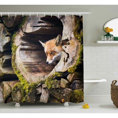 Animal Nature Wild Fox Forest Shower Curtain Size: 69 W x 70 L