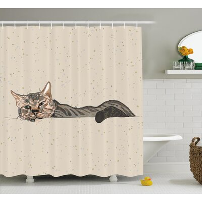 Animal Lazt Sleepy Cat Figure Shower Curtain Size: 69 W x 75 L