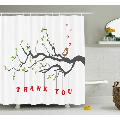Banister Thank You Quote Hearts Shower Curtain Size: 69 W x 84 L